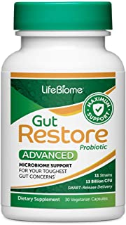 Dr. Drew Sinatra's LifeBiome Gut Restore Advanced Maximum Strength SBO Microbiome Probiotic with 11 Hardy Strains Restores Balance to The Gut for Digestive Comfort and a Boost in Mood