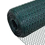 VOUNOT Chicken Wire, PVC Coated Wire Mesh Fencing, Wire Netting Roll,1m x 10m, Green