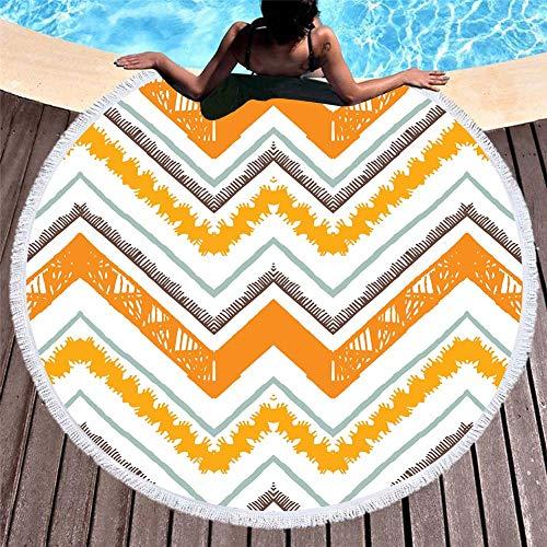 Vioyo Ronde strandhanddoek van microvezel met geometrische patronen in 3D-print, voor yogamat met zomerkwast, voor volwassenen