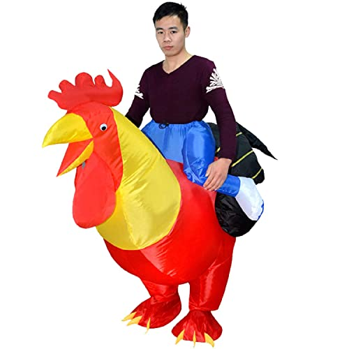 MH Zone Halloween Costumes Cock Horse Dinosaur Inflatable Costume for Adult Kids T-Rex Costume Adult Size Dinosaur Suit