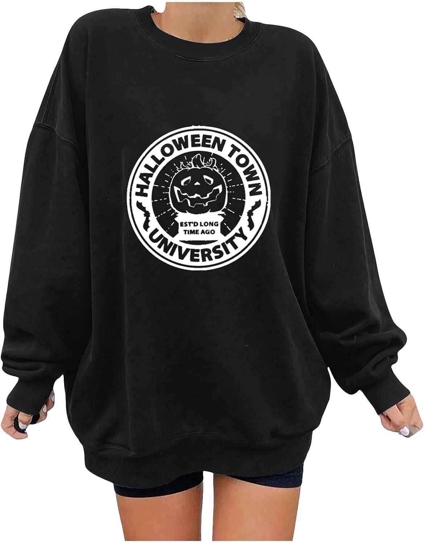 ManxiVoo Women's Halloween Fall Top O Neck Long Sleeve Printing Pullover Blouse Tees Basic T-Shirt Tops
