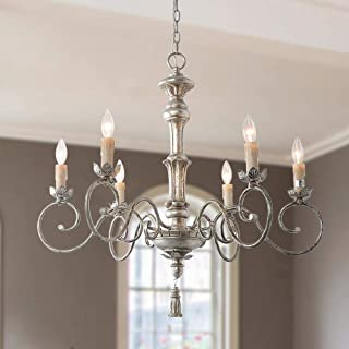 LNC A03441 Wood Chandelier French Country Candle Hanging Light Fixture with Antique Silver Finish, 31.5 inches, for Living Room