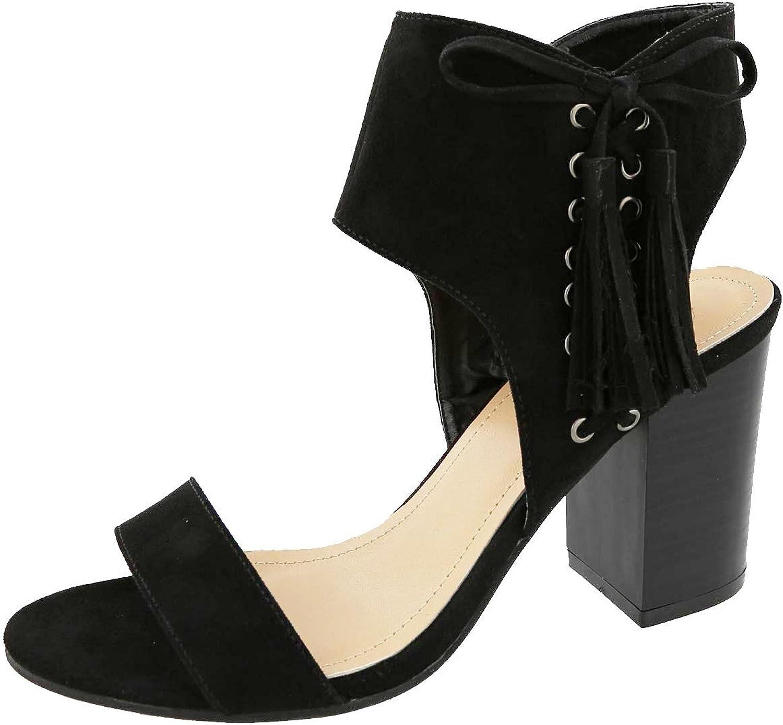 Top Moda Women's Lace Up Side Top Moda Troy-1 Tassel Fringe Stacked Chunky Heel Sandal
