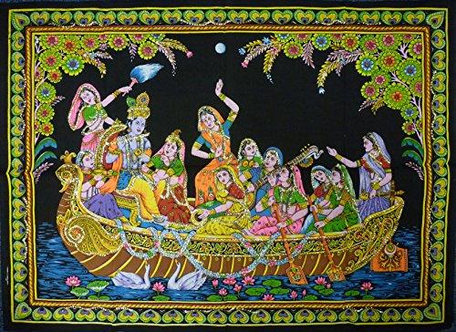 Pailletten Baumwolle Bild Hindu Gott Radha Krishna Auf Einem Boot zum Aufhängen–110x 80cm