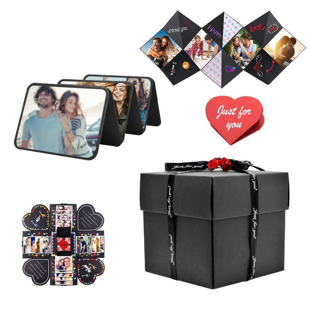 Zuukoo Caja de Sorpresa, Caja de explosión, álbum de Fotos Creativo, Caja de Regalo con Cinta Adhesiva para el día de San Valentín, cumpleaños, Aniversario, Boda, día de Acción de Gracias: Amazon.es: