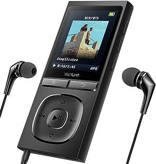 Victure Reproductor de MP3 100 Horas de Tiempo de Espera 8GB Ampliable hasta 64 GB con Auriculares Grabadora de voz FM Radio