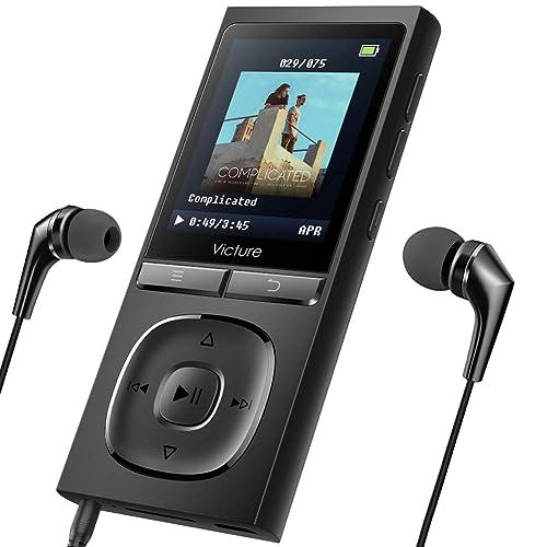 Victure Lecteur MP3 100H Lecteur Musique Portable 8Go avec Radio FM, 1.8 TFT Écran, Enregistreur Vocal, Supporte Carte SD Jusqu'à 128Go