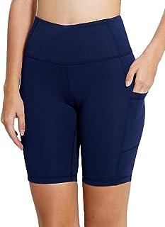 "BALEAF Women's 8"" Yoga Shorts with Pockets High Waist Biker Workout Running Tights"