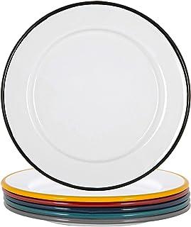 Argon Tableware Émail Blanc - Plaques latérales en Acier Camping en Plein air Arts de la Table - Vaisselle 20cm - 6 Couleurs