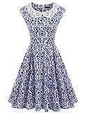 ACEVOG Women's Vintage 1950's Inspired Rockabilly Floral Print Swing Evening Dress,Blue,XX-Large (Apparel)