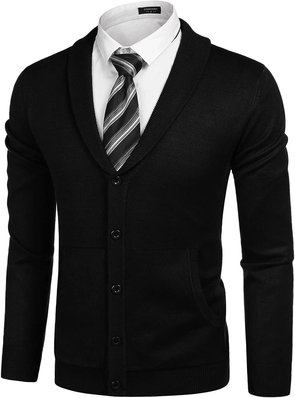 Indefinitely Popular standard COOFANDY Mens Shawl Collar Sweater Cardigan Buttons Lightweight