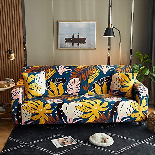 Funda Sofá de Universal Estiramiento, Morbuy Planta Impresión Cubierta de Sofá Cubre Sofá Funda Furniture Protector Antideslizante Elastic Soft Sofa Couch Cover (4 plazas,Doodle de Planta)