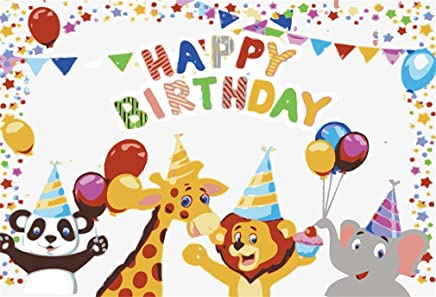 YongFoto 2,2x1,5m Vinilo Tel/ón de Fondo Cumplea/ños Animales World Zoo Giraffe Zebra Lion Elephant Fondo para Fotografia Fiesta Ni/ños Boby Retrato Personal Estudio Fotogr/áfico Accesorios