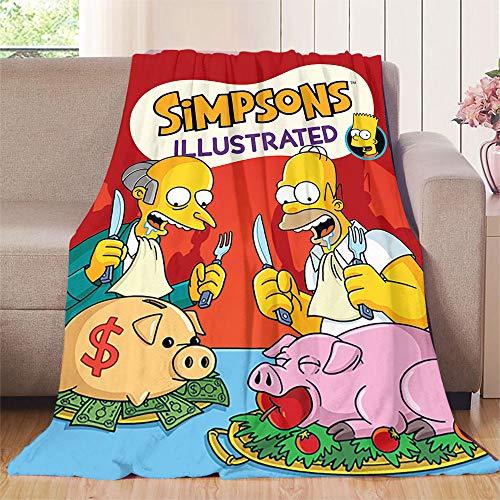NUOMANAN The Simpsons (4) Manta para bebé (177 x 228 cm) de franela súper suave y cálida manta gruesa para el hogar