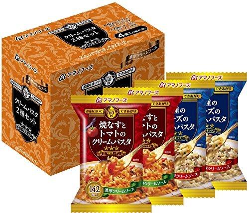 アマノフーズ フリーズドライ 三ツ星キッチン クリームパスタ 2種セット 4食×3箱入×(2ケース)