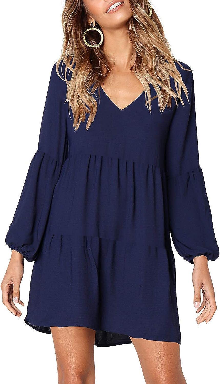 MissLook Women's Short Sleeve Tunic Dress V Neck Ruffle Loose Mini Swing Shift Dresses