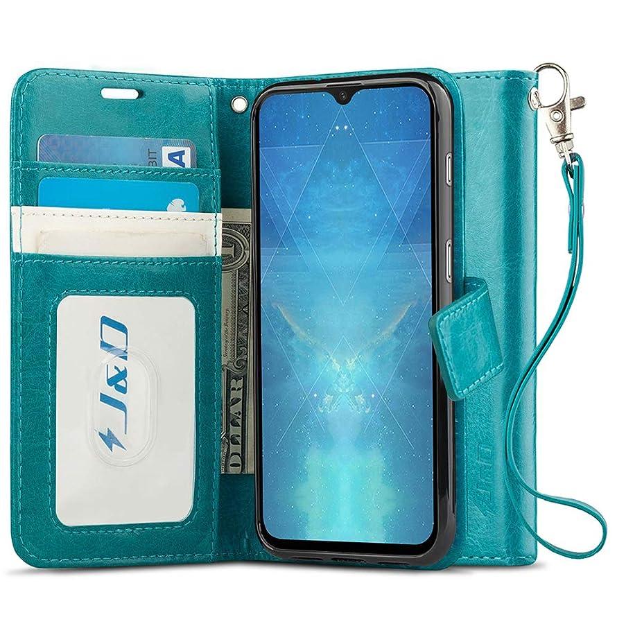 J&D Case Compatible for OnePlus 6T Case, [Wallet Stand] [Slim Fit] Heavy Duty Protective Shock Resistant Flip Cover Wallet Case for OnePlus 6T Wallet Case - Aqua