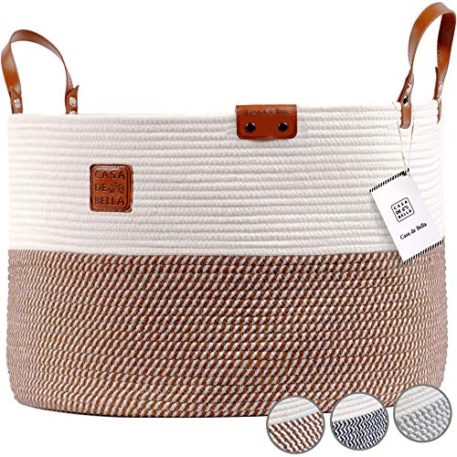 "Romantic Brown XXXLarge Laundry Basket - 21.7x21.7x13.8"" Cotton Rope Basket for Blankets Kids Toys Storage Baskets Handle Comforter Cushions Storage Bins Baby Nursery Organizer or Hamper"