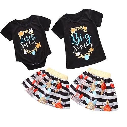 f800540ec Big Sister Little Sister Matching Clothes Set Summer Baby Girl Little Sister  Romper Skirt Set Big