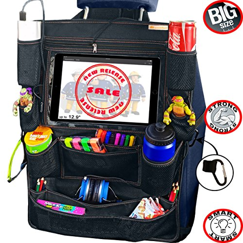 B-comfort Car Back Seat Organizer for Kids with Tablet Holder-Large Backseat Protector Kick Mat-Universal Travel Accessory for Babies/Toddlers/Teens for Auto/Vehicle/Truck/SUV/Jeep