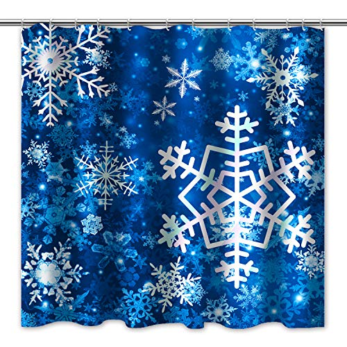 Tititex Merry Christmas Snowflake Shower Curtain Blue Bathroom Decorative Winter Waterproof Fabric 69x70 Inch with Hooks