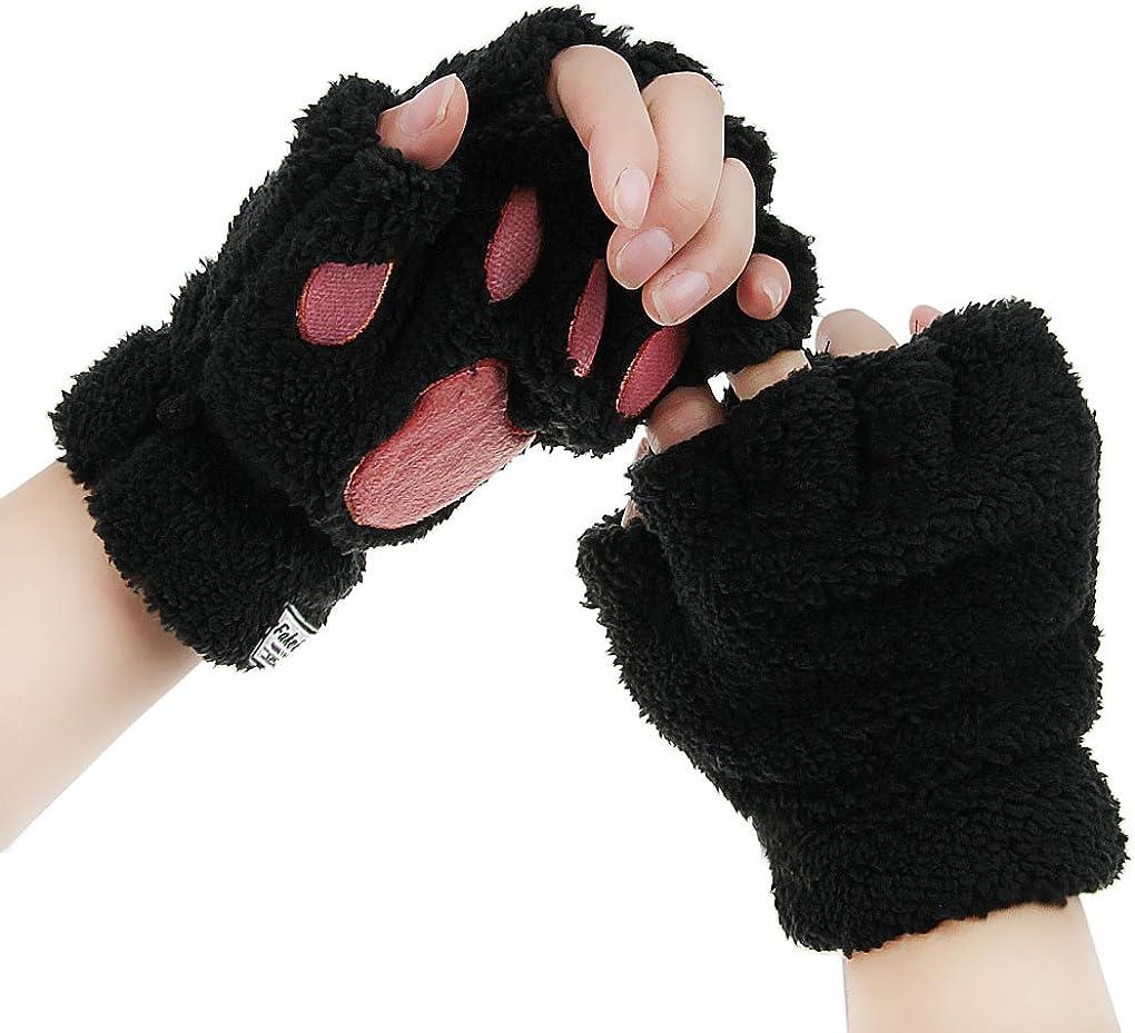 Women Winter Warm Stylish Fluffy Knitted Fingerless Mittens Gloves for Beauty Wrist Forearm Wrap