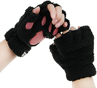 Women Cat Paw Claw Gloves Girls Plush Faux Fur Bear Hand Gloves Winter Fleece Warm Half Fingerless Hang Neck Gloves