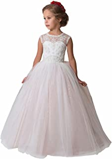 First Communion Dress Beaded Pageant Flower Girl Dress for Wedding Floor Length Princess Ball Gown