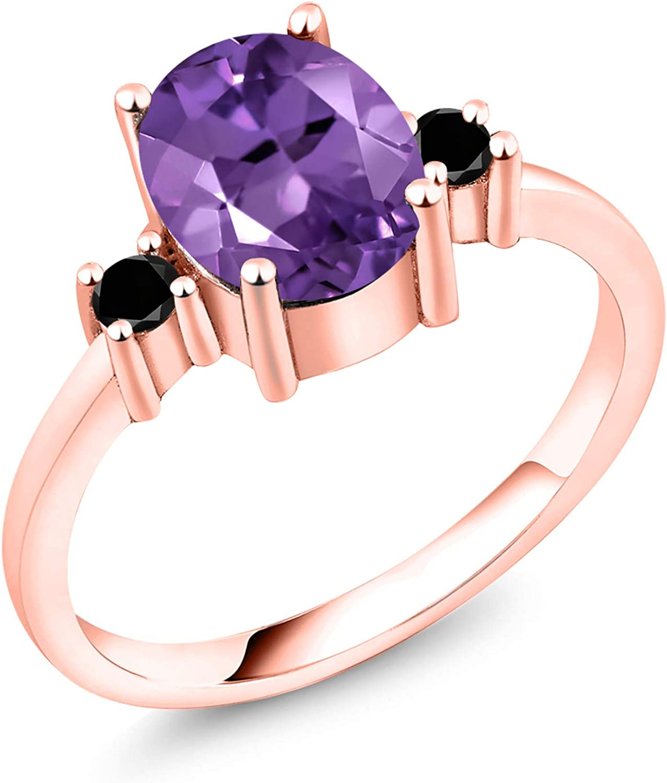 Gem Stone King 1.73 Ct Oval Now on Gifts sale 18K Amethyst Diamond Ro Black Purple