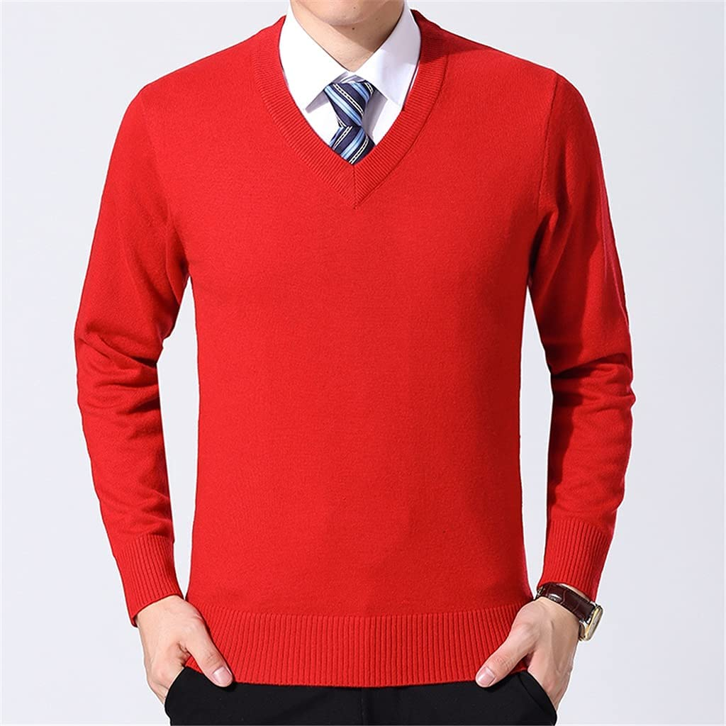 LYYQH Sweater Mens Pullover V Neck Slim Fit Jumpers Knitting Thick Warm Autumn Korean Style Casual Mens Clothes (Color : Red, Size : 2XL Code)