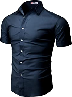 H2H Mens Dress Shirts Slim Fit Short Sleeve Business Shirt Basic Designed Breathable