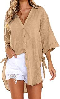 Women's Casual Solid V-Neck Shirt Half Sleeve Tops Button Down Tie Side Knot Loose Shirt Blouse Tee