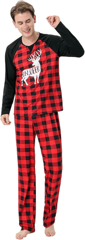 Masbird Christmas Pajamas for Family, Matching Outfits Long Sleeve Red Plaid Print Tops + Pants Pjs Sleepwear Sets
