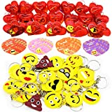 28 Packs Kids Valentines Party Favors Set includes 28 Emoji Keychains Filled Hearts and Valentine's Day Cards for Classroom Exchange, Emoji Party Favors Emoji Toys for Valentine Gift Exchange, Game Prizes