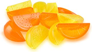 Reusable Freezable Plastic Ice Cubes Cute Orange Lemon Fruit Shaped for Restaurants, Bars and Family Use (Pack of 60)