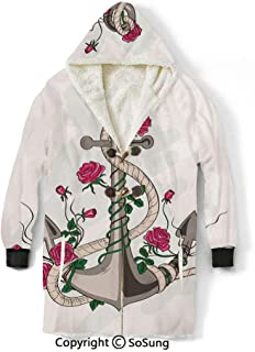 Anchor Blanket Sweatshirt,Sea Anchor Entwined with Flourishing Roses Romantic Summer Ocean Inspired Decorative Wearable Sherpa Hoodie,Warm,Soft,Cozy,XXXXL,for Adults Men Women Teens Friends,Taupe Bei