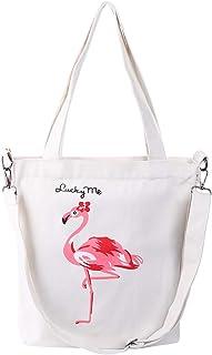 VALICLUD Frauen Leinwand Umhängetasche Flamingo Hobo Umhängetasche Lässige Tasche Abnehmbare Handtasche für Mädchen Einkau...