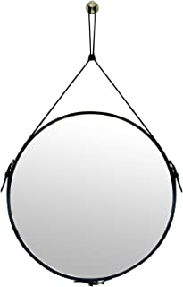 HofferRuffer Faux Leather Round Wall Mirror Decorative Mirror Hanging Mirror with Adjustable Hanging Strap Silver Hardware Hooker, Diameter 19.7 inch, Black