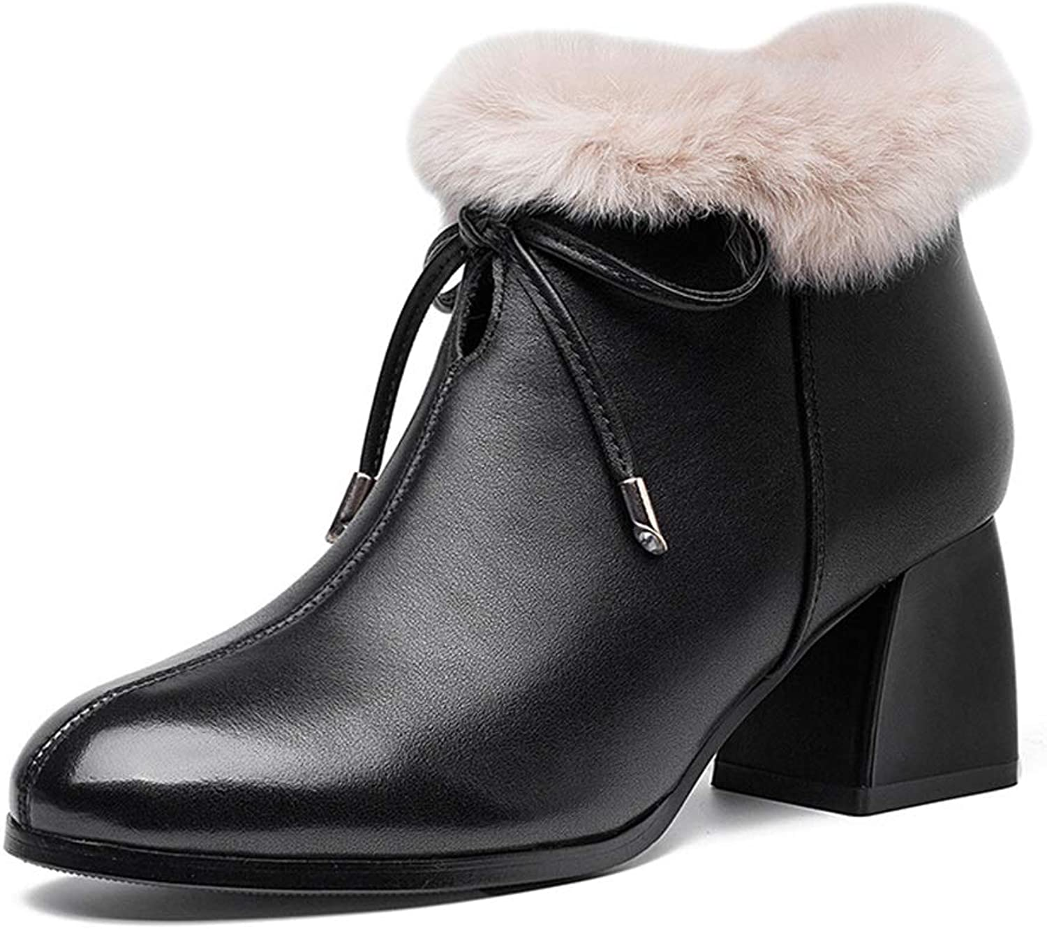 Womens Ankle Boots, Winter Boots Heels, Ladies Fashion High shoes Anti-Slip Zipper High Heel Ankle Pointed Head (color   Black, Size   38)
