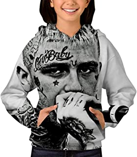 Children's 3D Print Lil Peep Plus Velvet Hooded Sweatshirt Unisex Pocket Hooded Sweatshirts for Boys/Girls/Teen/Kid's