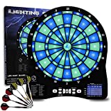 Turnart Electronic Dart Board,13 inch Illuminated Segments Light Based Games Electric Dartboard for Adults Tested Tough Segment for Enhanced Durability Professional with Scoring (Blue)