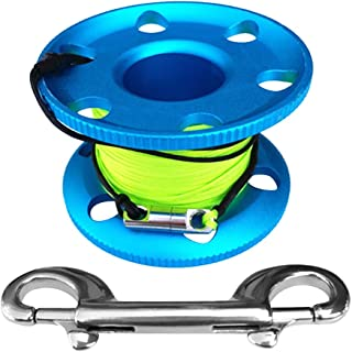 kesoto Finger Spool with Double Ended Bolt Clip Snap and 164Ft Line Holder Reel - Aluminum Alloy - Choice of Color - Blue