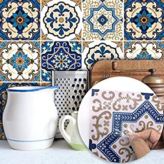 Tile Sticker for Kitchen & Bathroom 6x6 Inch Waterproof Anti-mold Moroccan Pearly Backsplash Tile Sticker Decals for Walls Stairs Decals(10PCS/Set)