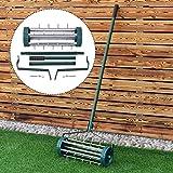 Heavy Duty Rolling Garden Lawn Aerator Roller Home Grass Steel Handle Green New