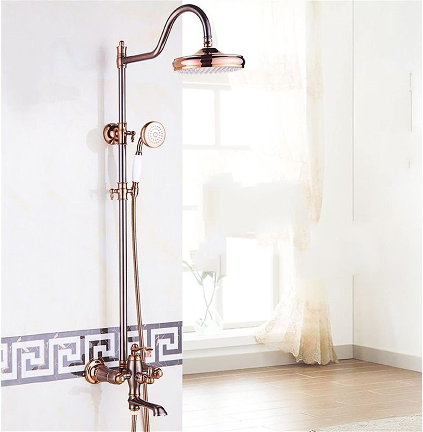 Lalaky Taps Faucet Kitchen Mixer Sink Waterfall Bathroom Mixer Basin Mixer Tap for Kitchen Bathroom and Washroom Jade gold Full Copper Wall-Mounted Sprinkler + Hand-Held Supercharged Shower
