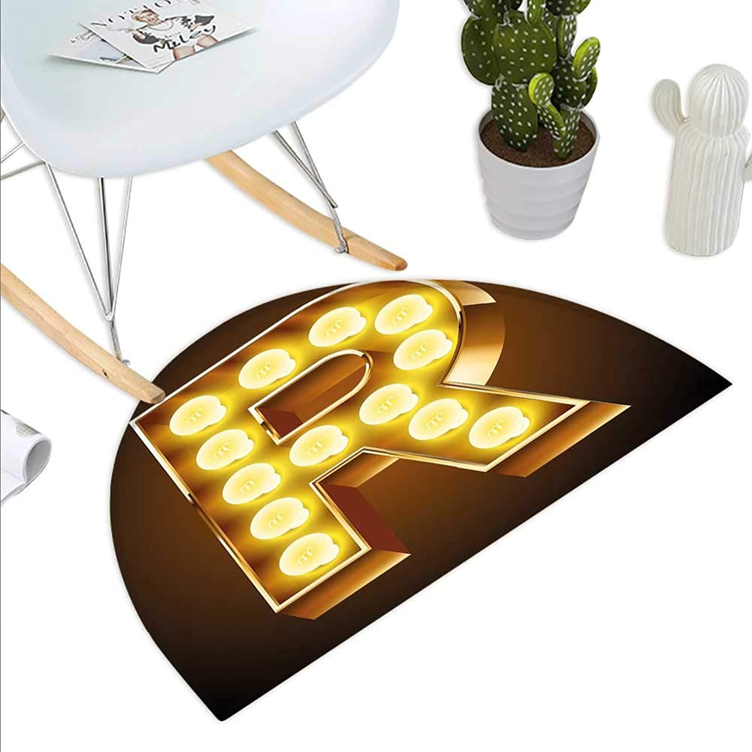 Letter R Semicircle Doormat Old Carnival Themed Alphabet Symbol Capital R golden colord Image Print Halfmoon doormats H 43.3  xD 64.9  Caramel gold Yellow