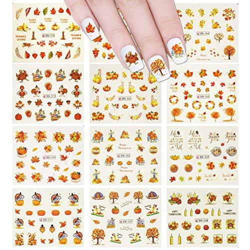 ALLYDREW - Juego de 11 hojas de uñas, diseño de hojas de otoño