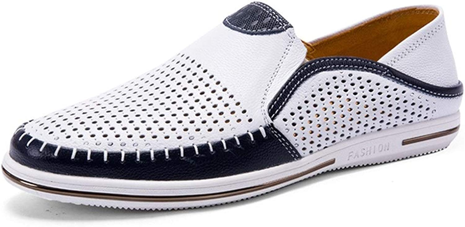 Easy Go Shopping Sneakers For Men Perforated Walking shoes Casual Slip On Anti-Slip Breathable Lightweight Walking Boat shoes Cricket shoes (color   White, Size   8 UK)