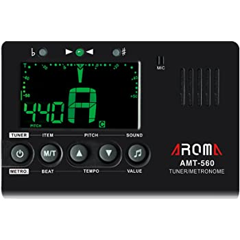 Andoer Aroma AMT-560 Electric Tuner & Metronome Built-in Mic with Pickup Cable 6.3mm for Guitar Chromatic Bass Violin Ukulele Universal Portable