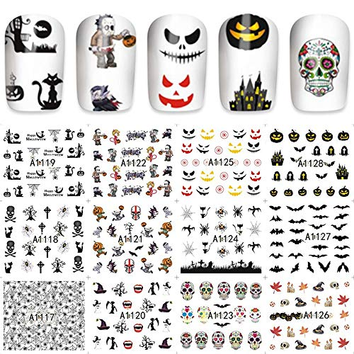 MEIYY Autocollant D'ongle 12/Skull/Cat/Maple/Bat Multi-Pattern Art Nail Sticker Autocollant De Transfert